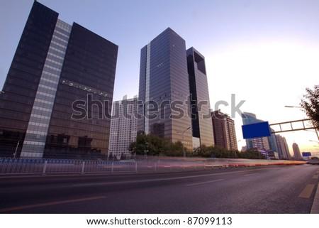 City street at dusk - stock photo
