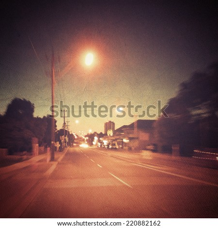 City Street at Night - stock photo