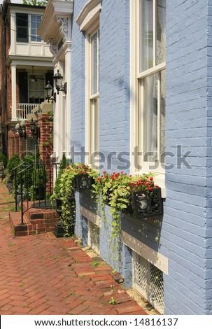 City street in Old Town Alexandria, Virginia - stock photo