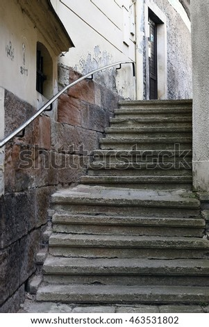 City street with stairs
