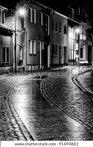 City streets of the old city. Black and White. - stock photo