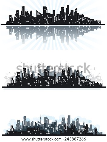 City. Three abstract urban silhouettes of skyscrapers on grunge background.