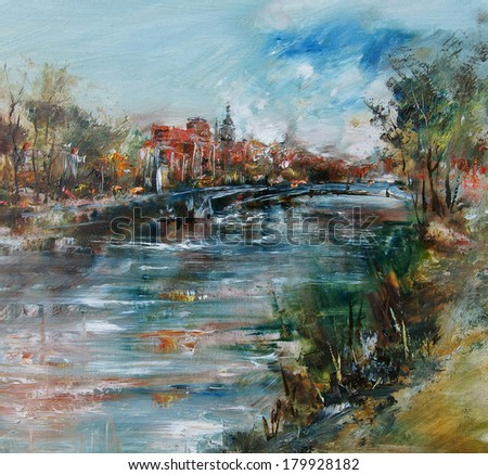 City tower bridge and the river, oil painting - stock photo