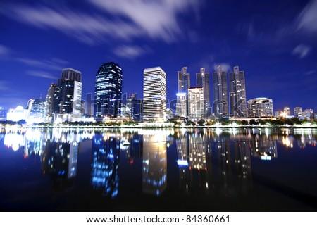 City town at night, Bangkok, Thailand - stock photo