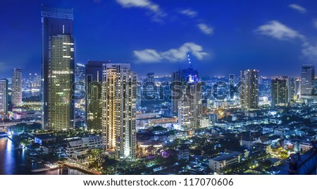 City town at night in Bangkok, Thailand