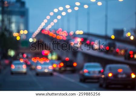 City traffic night blurred - stock photo