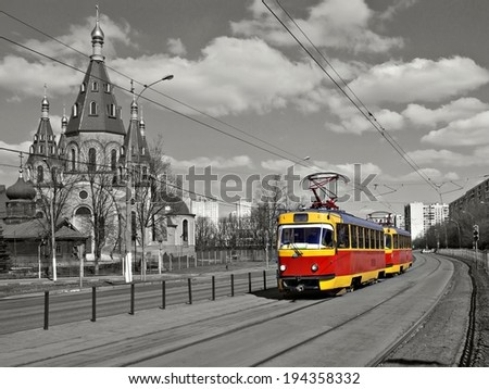 City tram on the street (Moscow, Russia) - stock photo