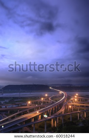 City transportation scenery of high way with with light under blue sky in Taiwan, Asia. - stock photo