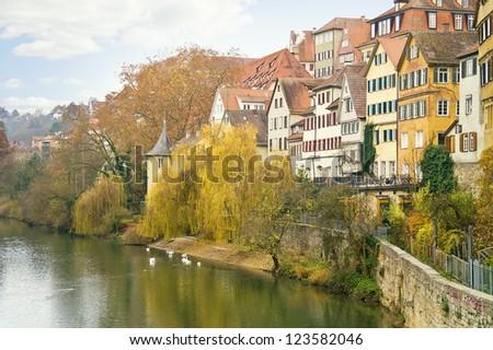 City Tuebingen. River Neckar - stock photo