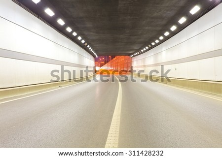 City tunnel road viaduct streetscape of night scene