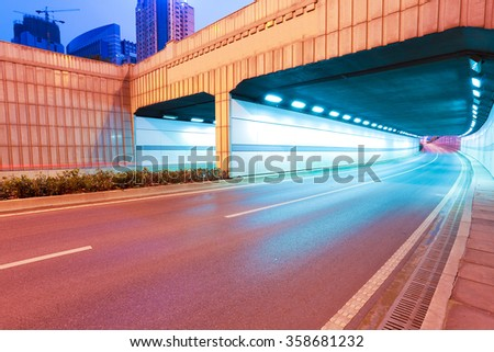 City tunnel road viaduct streetscape of night scene - stock photo