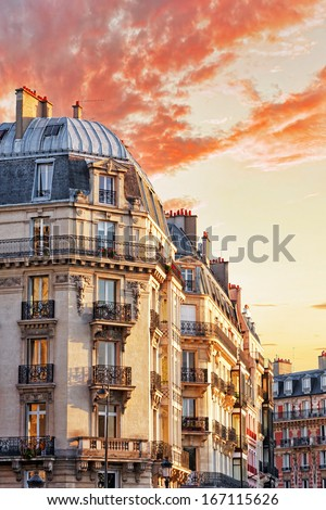 City, urban  view on building in  Paris.France - stock photo