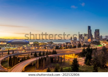 City view from far away - stock photo