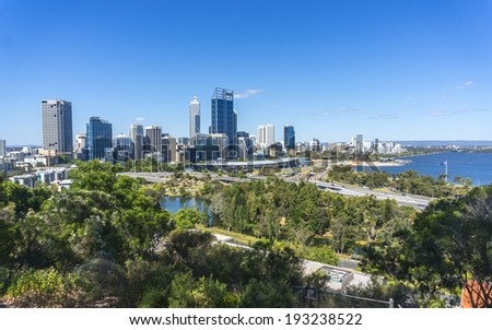 City view from mountain hill - stock photo