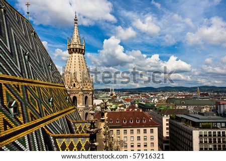 City view from SCt. Stephan cathedral roof - stock photo