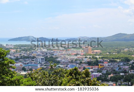city view from the top hill of Phuket,Thailand
