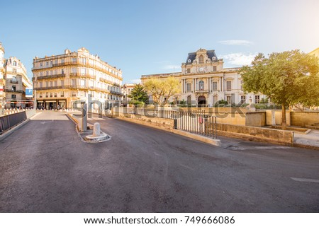 City view on Martyrs square with beautiful building during the morning light in Montpellier city in southern France