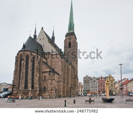 city view with cathedral of Pilsen, a city in the Czech Republic - stock photo