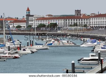 city view with harbor at Ponta Delgada, capital city of the Azores at Sao Miguel Island - stock photo