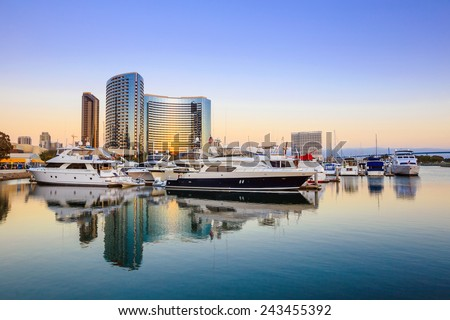 City View with Marina Bay at San Diego, California USA - stock photo