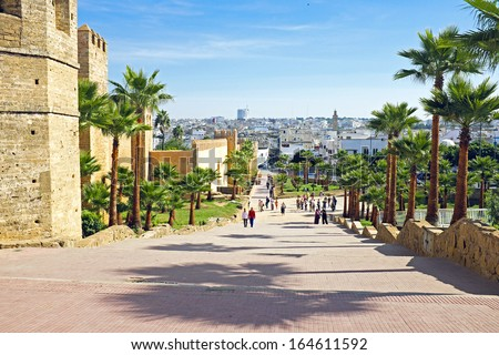City wall from old Rabat in Morocco Africa - stock photo