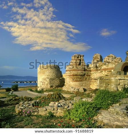 City wall in the city of Nesebar in Bulgaria, UNESCO World Heritage Site - stock photo