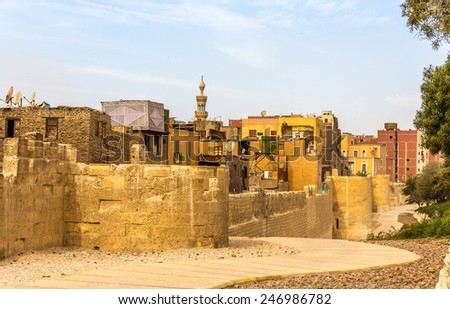 City walls of Cairo in the Islamic district - Egypt - stock photo