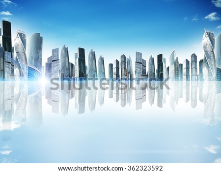 City with reflection