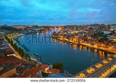 Citylights of Porto, Portugal - stock photo