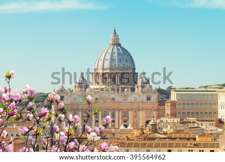 cityline of Rome with St. Peter's cathedral at spring day, Italy - stock photo