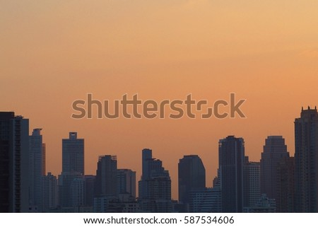 Cityscape and beautiful sky in the evening background,Bangkok Thailand