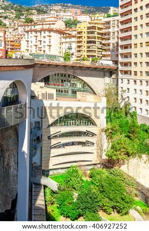 Cityscape and Gare de Monaco of Monte Carlo. Principality of Monaco, French Riviera - stock photo
