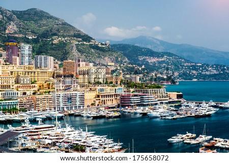 Cityscape and harbor of Monte Carlo. Principality of Monaco  - stock photo