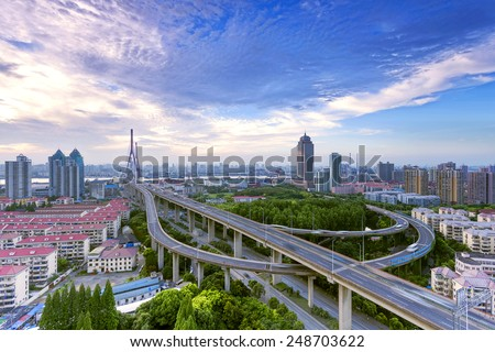 cityscape and skyline during sunset in modern city,shanghai - stock photo
