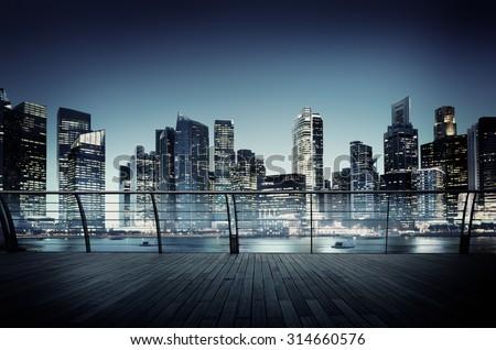 Cityscape Architecture Building Business Metropolis Concept - stock photo