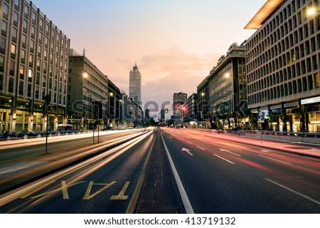 Cityscape at Sunset, Milan, Italy - stock photo