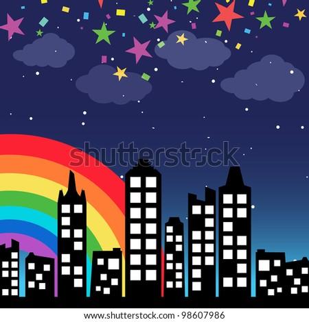 Cityscape background with rainbow - stock photo