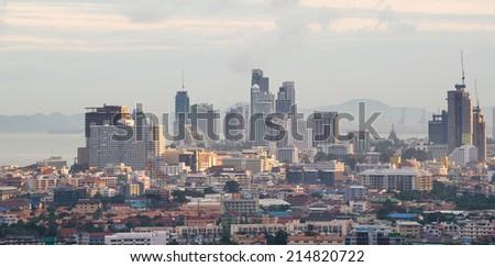 Cityscape bird's eye view of Pattaya, Chonburi, Thailand - stock photo