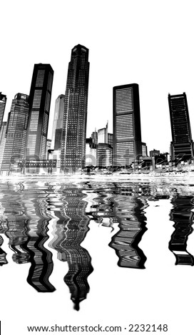 cityscape - black and white - stock photo