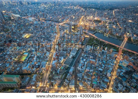 Cityscape bulding from top view, center of Japan