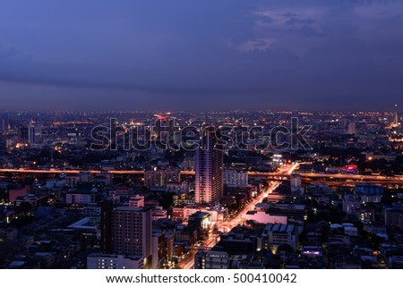 Cityscape, center of Bangkok, skyscraper buildings, business area in the evening with twilight sky.