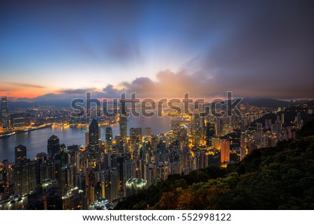 Cityscape from top view before sunrise