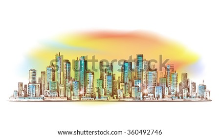 Cityscape. Hand drawn illustration - stock photo