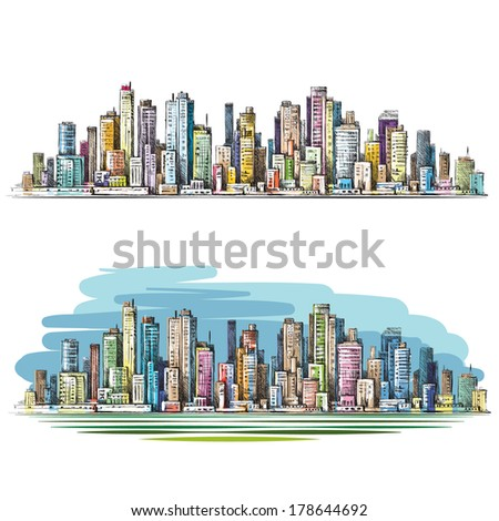 Cityscape. Hand drawn illustration. Raster version - stock photo