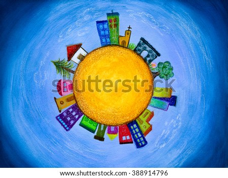 Cityscape houses in a little planet painting - stock photo