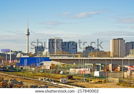 Cityscape in Berlin with modern buildings, Germany - stock photo