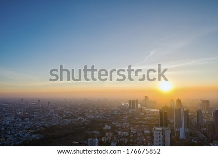 cityscape in mid town of Thailand - stock photo