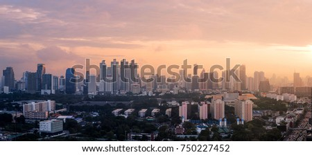 Cityscape in morning with sunrise