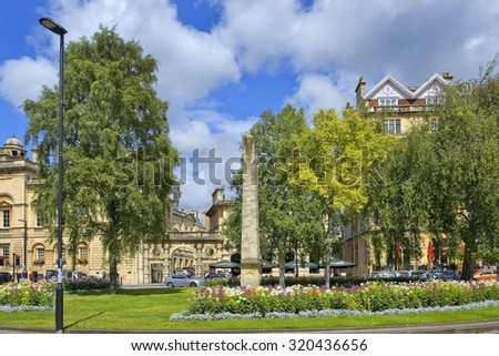 cityscape in the medieval town Bath, Somerset, England - stock photo