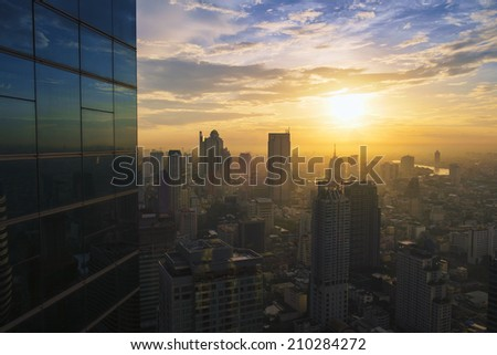 Cityscape in the middle of central city - stock photo